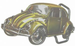 VW Yellow Beetle Officially Licensed Belt Buckle with display stand and presentation box. Code VW21